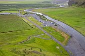 View Of Skogafoss Waterfall On The Camping In Iceland poster