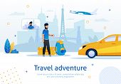 Travel Adventure, Travel Agency, Airplane Tickets Booking Or Taxi Service, Trendy Flat Vector Advert poster
