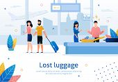 Airline Company Services, Searching And Returning Lost Luggage Trendy Flat Vector Advertising Banner poster