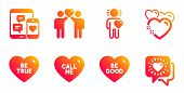 Friends Couple, Be True And Call Me Line Icons Set. Friend, Heart And Social Media Signs. Be Good, F poster