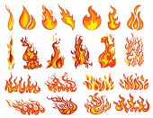 Set Of Fires. Collection Of Fire Walls. Illustration Of A Burning Strip. Flame Drawing. Flaming Wall poster