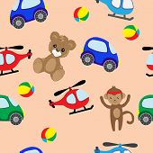 Bear, Machine, Helicopter And Monkey Toys. Colorful Seamless Background Of Teddy Bears And Monkeys,  poster