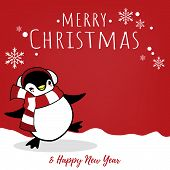 Christmas Holiday Season Background With Cute Cartoon Penguins In Winter Custom On Snow Hill And Mer poster
