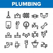 Collection Plumbing Fixtures Vector Icons Set Thin Line. Faucet And Mixer, Valve And Sink, Pipe Tube poster
