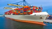 Container Ship Loading And Unloading In Deep Sea Port, Aerial Top View Of Business Logistic Import A poster