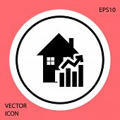 Black Rising Cost Of Housing Icon Isolated On Red Background. Rising Price Of Real Estate. Residenti poster