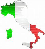 Shiny Grunge Map Of The Italy - Illustration,  Three Dimensional Map Of Italy poster