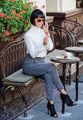 Woman Attractive Elegant Brunette Spend Leisure Cafe Terrace Background. Happy To Hear You. Leisure  poster