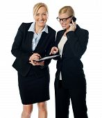 picture of rectifier  - Businesswomen on call rectifying the document - JPG