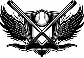 pic of bat wings  - Baseball Bats Baseball and Home Plate with Ornate Wing Borders Vector Graphic - JPG