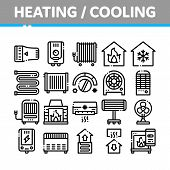 Heating And Cooling Collection Vector Icons Set Thin Line. Cool And Humidity, Airing, Ionisation And poster