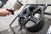 Painting The Element Body Of The Car - The Aluminum Alloy Wheel With The Help Of Aerograf In Black C poster