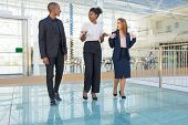 Diverse Business Partners Going Through Office Hallway. Business Man And Women Walking In Office Bui poster