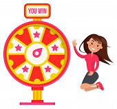 Fortune Wheel With Signboard You Win, Smiling Player Character Winning Roulette. Red Game Machine Wi poster