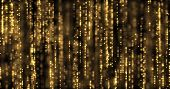Golden glitter curtain background, gold glitter particles flowing with magic light sparks. Glowing g poster