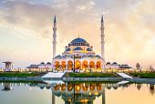 Sharjah New Mosque Largest Mosque In Dubai Beautiful Traditional Islamic Architecture, Arabic Letter poster