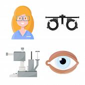 Isolated Object Of Vision And Clinic Symbol. Collection Of Vision And Ophthalmology Stock Symbol For poster