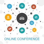 Online Conference Trendy Web Concept With Icons. Contains Such Icons As Group Chat, Online Learning, poster