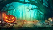 Halloween With Pumpkins And Dark Forest poster