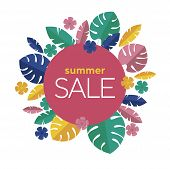 Colorful Tropical Leaves Summer Sale Banner poster