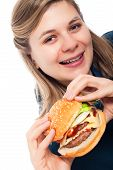 Happy Beautiful Woman With Hamburger