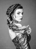 Beautiful Young Woman With Modern Hairstyle. Beauty Salon Hairdresser Art. Girl Makeup Face Braided  poster