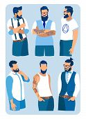 Set Of Men With Different Hairstyles, Beards And Mustache Fashion. Collection Of Contemporary Fashio poster