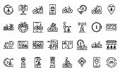 Rent A Bike Icons Set. Outline Set Of Rent A Bike Vector Icons For Web Design Isolated On White Back poster