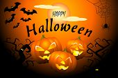 Happy Halloween Black Orange Banner With Scary Pumpkins, Bats, Ugly Trees, Spider Web And Full Moon. poster
