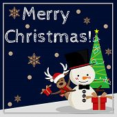 Christmas Cartoon Of Snowman, Reindeer, Gift Box And Christmas Tree With Merry Christmas Text. Cute  poster