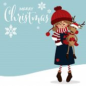Christmas Holiday Season Background With Cute Girl In Winter Custom With Cute Reindeer Doll And Happ poster