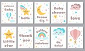 Baby Shower Posters Set Invitation Stars Moon Cloud Rainbow Baby Arrival Shower Collection Text Phra poster