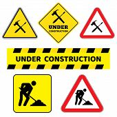 Under Construction Sign Collection.six Construction Sign Drawing By Illustration.under Construction  poster