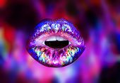 Ultra Violet, Purple Lips Isolated On Purple Background. Rainbow Lip Gloss On Lips. Open Mouth With  poster