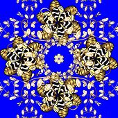 Golden Pattern On Blue And Yellow Colors With Golden Elements. Seamless Oriental Ornament In The Sty poster