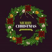 Realistic Christmas Wreath 02 poster