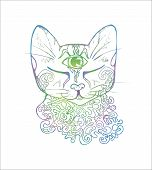 An Illustration Of A Psychedelic Cat. Color Drawing Of A Cat. poster