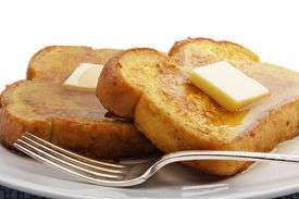 foto of french toast  - French toast with square piece of butter - JPG