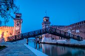 image of arsenal  - View of the Arsenale in Venice at twilight - JPG