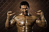 stock photo of felons  - the very muscular handsome felon guy out of netting steel fence with barbed wire - JPG