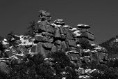 pic of hoodoo  - Black and white image of hoodoo rock formations of the Catalina Mountains from a Mount Lemmon vista Tucson Arizona - JPG