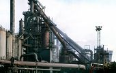 foto of blast-furnace  - Row of iron making blast furnaces on steel works - JPG