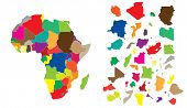 pic of cartographer  - Detail illustration of color map of African continent with small pieces of each states and made of puzzle - JPG