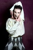 image of pantomime  - Dancer dressed in Pierrot Costume and Make - JPG