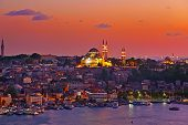 stock photo of cupola  - Istanbul sunset panorama  - JPG