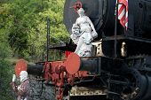 foto of pio  - marble sculpture on the old locomotive - JPG