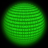 image of binary code  - binary code in sphere form in rotation movement - JPG