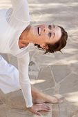 picture of namaskar  - A flexibel middle age senior woman doing yoga - JPG