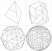 stock photo of tetrahedron  - From Tetrahedron To The Ball Sphere Lines Vector - JPG