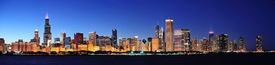 picture of willy  - Chicago city downtown urban skyline panorama at dusk with skyscrapers over Lake Michigan with clear blue sky - JPG